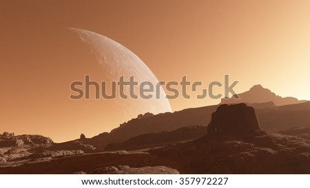 A huge moon in the dusty sky of a planet like Mars - stock photo
