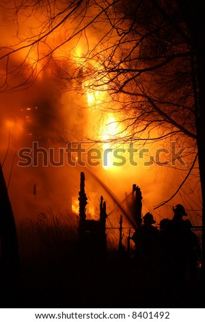 A huge nightime fire in south west Detroit - stock photo