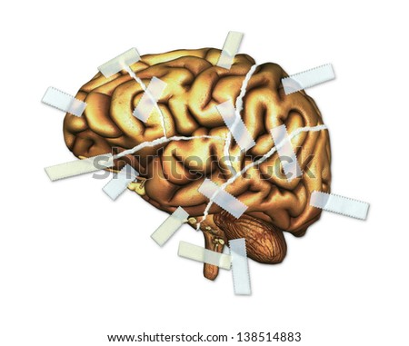 A human brain, torn up and taped back together, to symbolize traumatic brain injury and repair. Brain is a 3d render. - stock photo