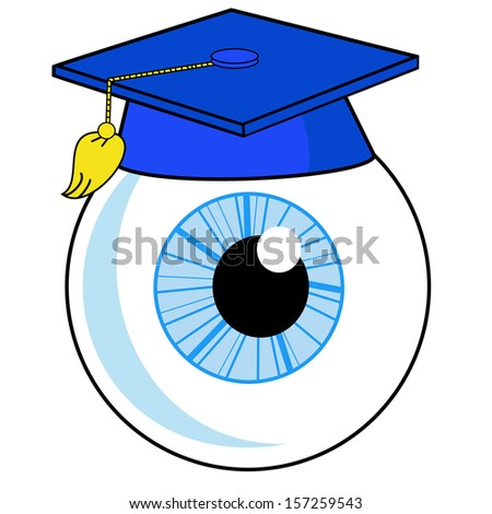 a human eye is in an university hat, illustration on a white background - stock photo