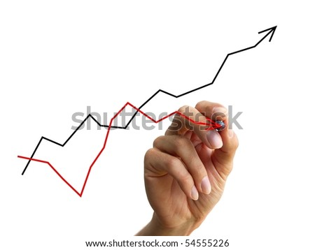 a human hand drawing a business chart isolated on a white background - stock photo