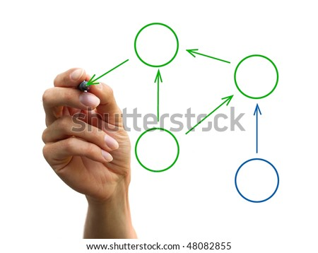 a human hand drawing a process diagram - stock photo