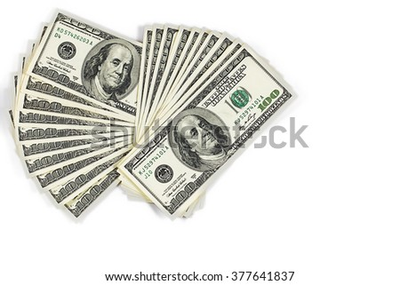 A Hundred dollar fan isolated on white background - stock photo