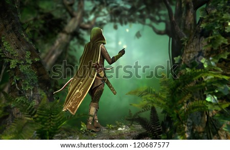a hunter in a hooded cape passes through the forest - stock photo