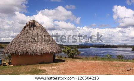 A hut in Canaima National Park, Venezuela - stock photo
