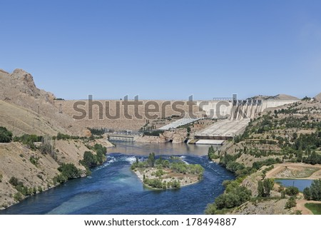 a hydroelectric dam located in east of turkey - stock photo