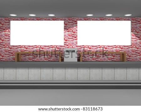 a illustration of blank billboards in the subway - stock photo