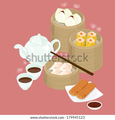 A illustration of Chinese dim sum - stock photo