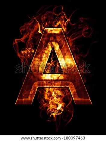 a, illustration of  letter with chrome effects and red fire on black background - stock photo