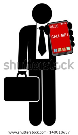 A illustration of man with mobile phone - stock photo