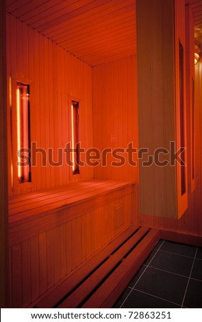 A infrared sauna cabin, for musscle pain threatment - stock photo