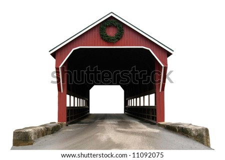 A isolated picture of a covered bridge on a white background - stock photo