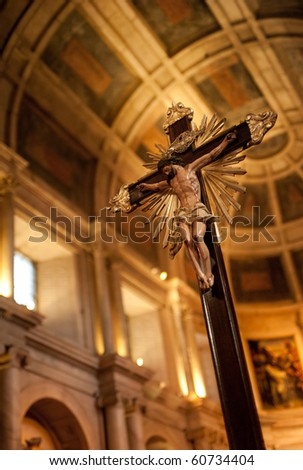 A Jesus Christ icon in an old churck. Background is defocused. Only the icon in focus. - stock photo