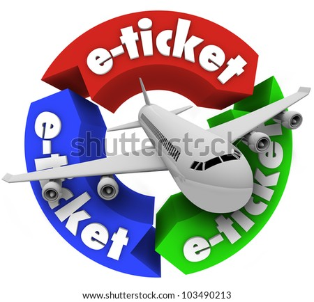 A jet airplane flying through a circular pattern of arrows featuring the word e-ticket to illustrate electronic ticketing for your flight travel - stock photo