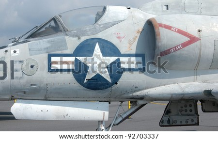 A jet fighter plane parked an airport - stock photo
