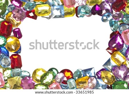 A jeweled border around a blank white center - stock photo