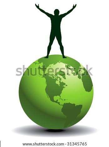 A joyful man on top of a green world - stock photo