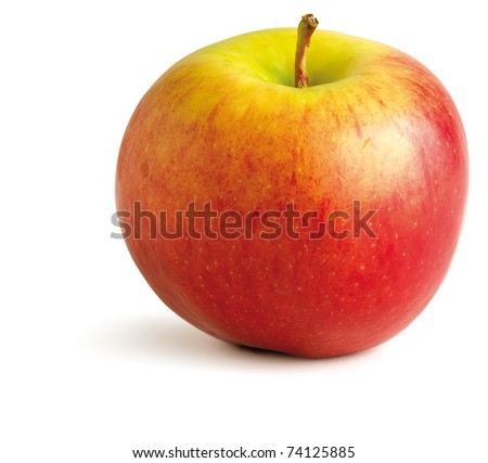 a juicy red apple on a white background with clipping path - stock photo
