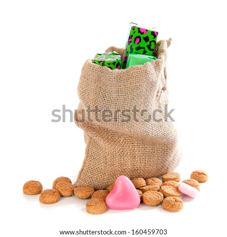 "A jute bag with gingernuts, for celebrating the dutch holiday "" sinterklaas "" on the fifth of December - stock photo"