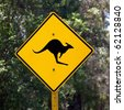 A kangaroo warning sign next to a rural road in Australia. - stock photo