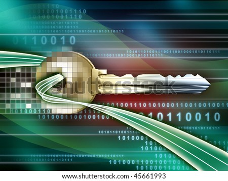 A key emerging from a binary data stream. Digital illustration - stock photo