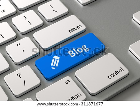 A keyboard with a blue button Blog - stock photo