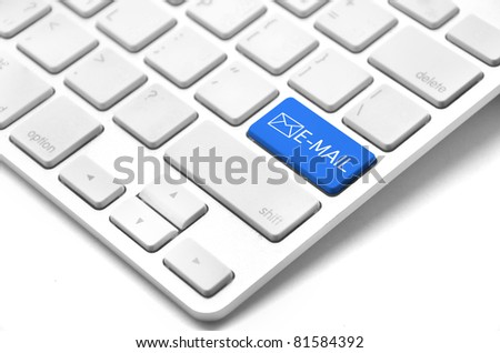 A keyboard with a blue key with the Thumb's e mail icon - stock photo