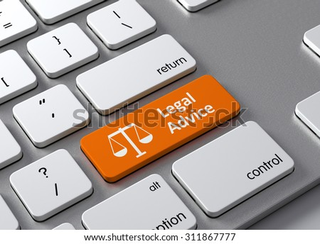 A keyboard with a orange button Legal Advice - stock photo