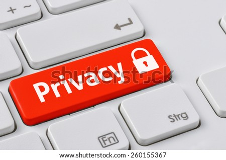 A keyboard with a red button - Privacy - stock photo
