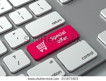 A keyboard with a red button Special offer - stock photo