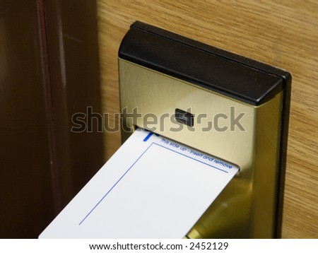 A keycard and electronic lock, original version - stock photo
