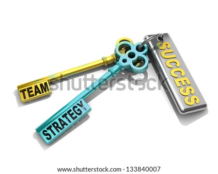 """a keys with words """"team"""", """"strategy"""" and """"success"""" , business concept - stock photo"""
