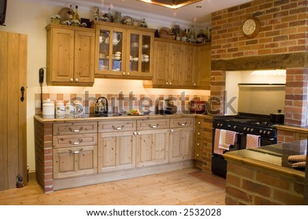 A kitchen in a farmhouse - stock photo