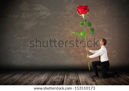 a kneeling man holds a big red rose before rustic background - stock photo