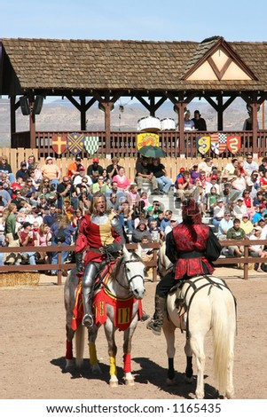 A knight preparing for a joust. - stock photo