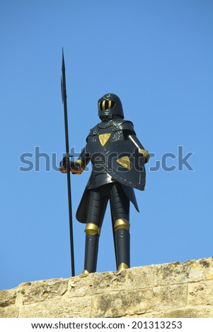 A Knights armor found at the walls of Rhodes island castle in Greece  - stock photo