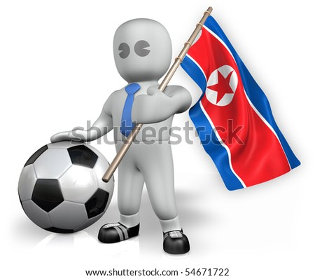A Korea DPR football fan with a ball and a flag - stock photo