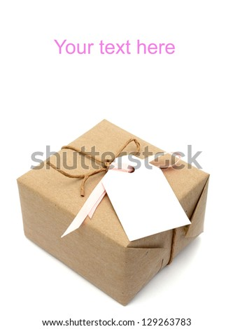 A kraft wrapping parcel box - stock photo