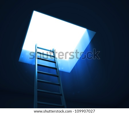 A ladder leading to an opening with visible night sky with the Moon and stars - stock photo