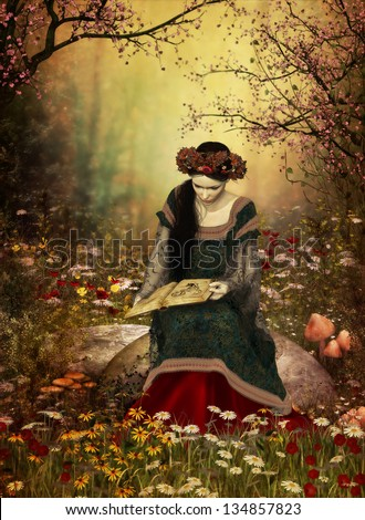 a lady in a medieval gown sitting on a stone and reading a book - stock photo