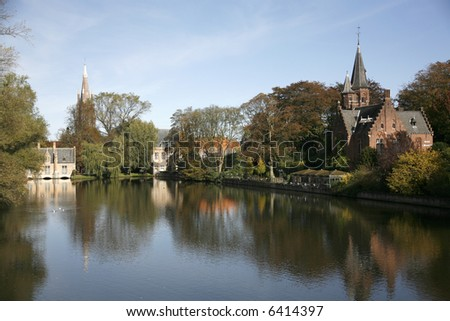 A lake in Bruges. - stock photo
