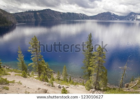 A lake side view of crater lake - stock photo
