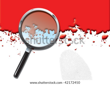 A landscape format illustration of blood spatters on a white background, with a magnifying glass and large fingerprint. - stock photo