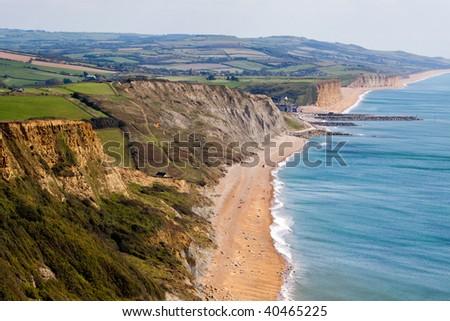 A landscape of the Jurassic coastline in Dorset England - stock photo