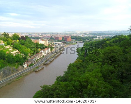 a landscape view from the top of clifton suspension bridge - stock photo