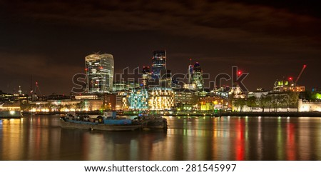 A landscape view of The Shard in London at night - stock photo