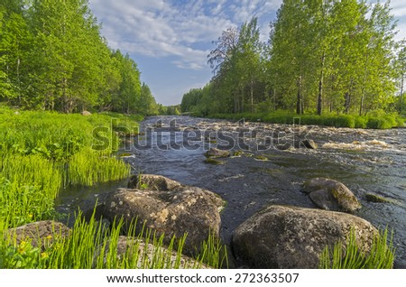 A landscape with small rapids on river Vig, Karelia, Russia. - stock photo