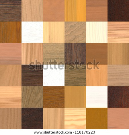 a large amount of different wood samples - stock photo