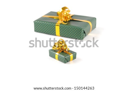 A large and a small package on a white background - stock photo