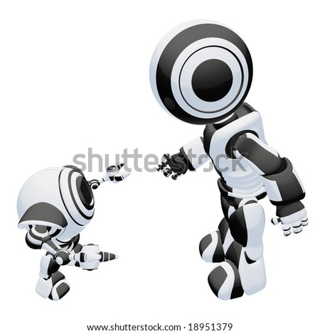 A large and small robot interacting in a friendly way, reaching out their hands to eachother. - stock photo